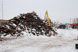 scrap yard in winter